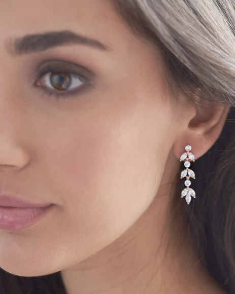 """The Sydney"" Floral CZ Earrings Bridesmaids - Sweet Heart Details"
