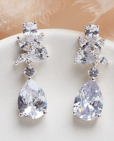 """The Madison"" CZ Dangle Earrings - Sweet Heart Details"
