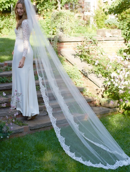 """The Claudia"" Lace & Beaded Bridal Cathedral Veil - Sweet Heart Details"