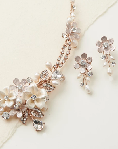 """The Eve"" Floral Necklace and Earrings - Sweet Heart Details"