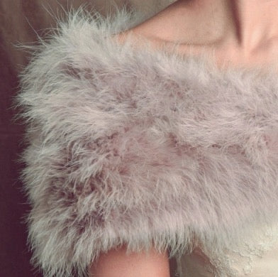 Vintage Inspired Genuine Marabou Feather Bridal Stole - Sweet Heart Details