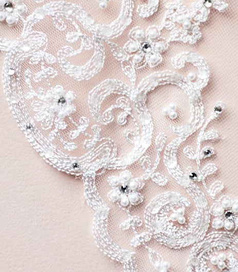 """The Claudia"" Lace & Beaded Bridal Veil-Veils-Sweet Heart Details"