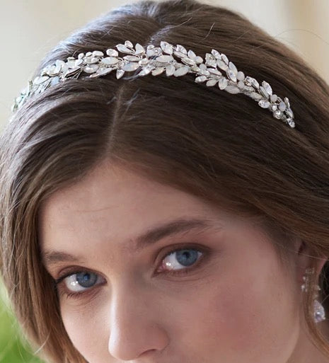 """The Anastasia"" Silver Opal Headband by Dareth Colburn - Sweet Heart Details"