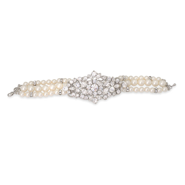 """The Serena"" Crystal & Freshwater Pearl Bracelet-Bracelets-Wedding Factory-B-9881-RD-DW-Sweet Heart Details"