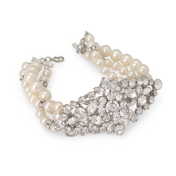 """The Serena"" Crystal & Freshwater Pearl Bracelet - Sweet Heart Details"