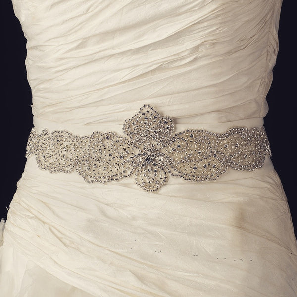 """The Shirley"" Rhinestone & Glass Bead Sheer Belt-Sashes & Belts-Wedding Factory-Belt-291-Sweet Heart Details"
