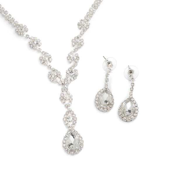 """The Sigourney"" Silver & Crystal Drop Necklace and Earrings - Sweet Heart Details"