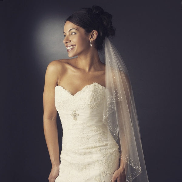 """The Suri"" Sewn Crystal Edge Waist Length White Veil - Sweet Heart Details"