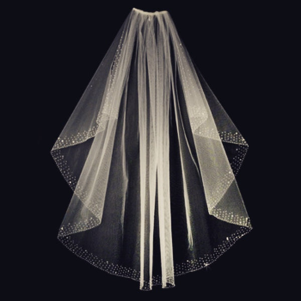"""The Suri"" Sewn Crystal Edge Waist Length White Veil"