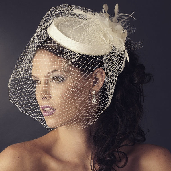 """The Suzy"" Vintage Couture Bridal Hat with Veil"