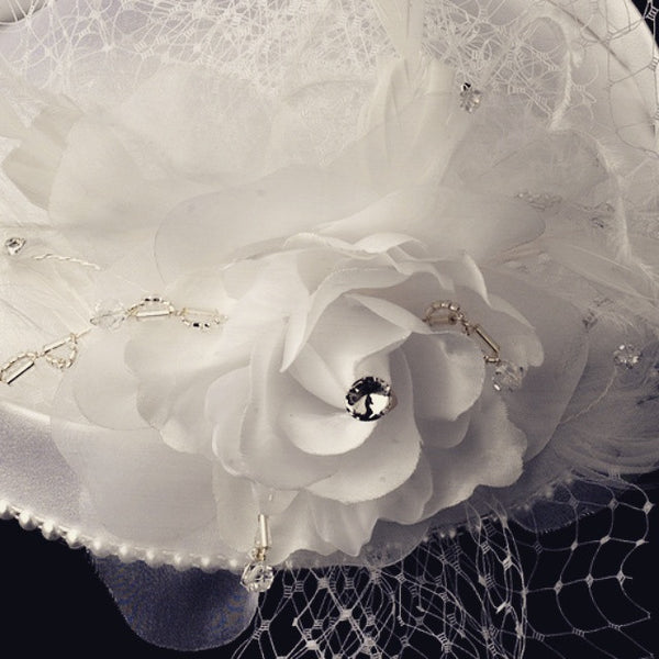 """The Suzy"" Vintage Couture Bridal Hat with Veil-Veils-Wedding Factory-Sweet Heart Details"