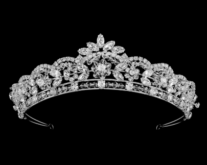 """The Kristina"" Crystal Tiara-Tiaras & Headbands-DS Bridal-T-55862-SV-Sweet Heart Details"