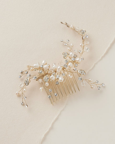 """The Angela"" Pearl Comb-Combs & Clips-Dareth Colburn-Sweet Heart Details"