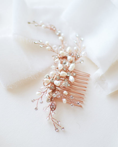 """The Angela"" Pearl Comb-Combs & Clips-Dareth Colburn-TC-2051-RG-Sweet Heart Details"