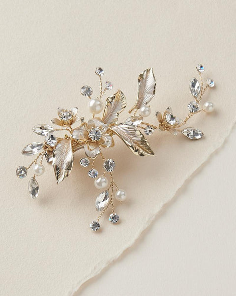 """The Katie"" Petite Pearl & Floral Bridal Clip - Sweet Heart Details"
