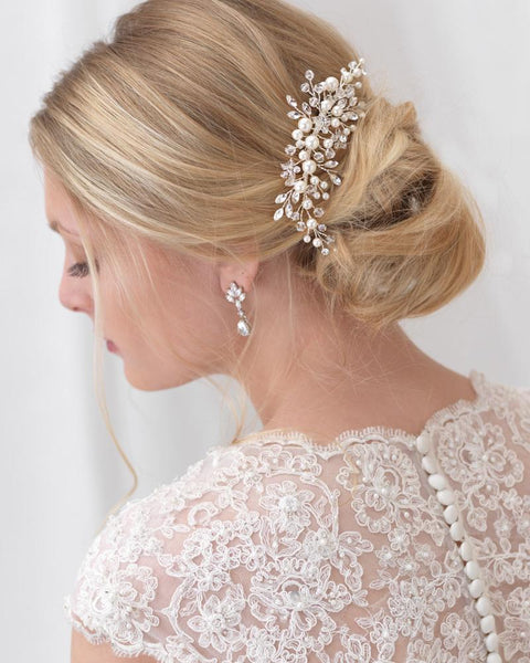 """The Emmy"" Bridal Floral Comb-Combs & Clips-Dareth Colburn-Sweet Heart Details"