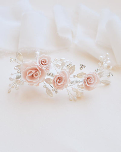 Blush Pink Flower Comb - Sweet Heart Details