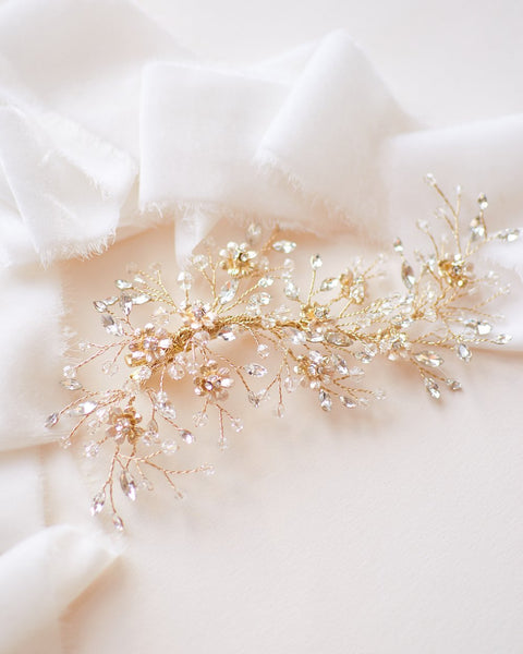 """The Blossom"" Bridal Hair Clip-Combs & Clips-Dareth Colburn-TC-2336-G-Sweet Heart Details"