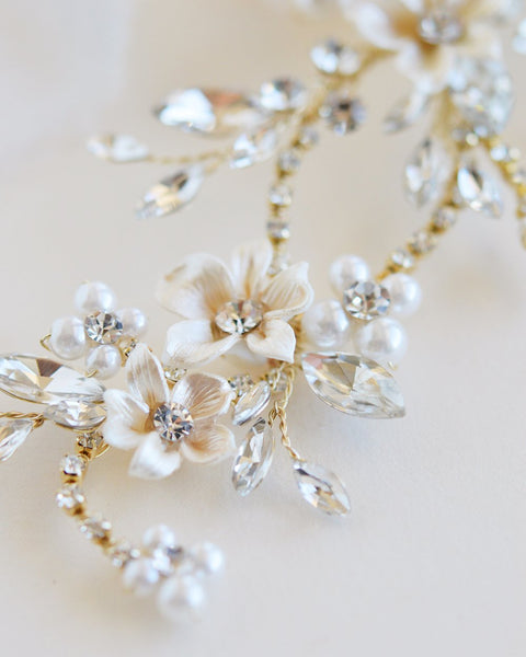 Flora Pearl & Crystal Hair Clip - Sweet Heart Details