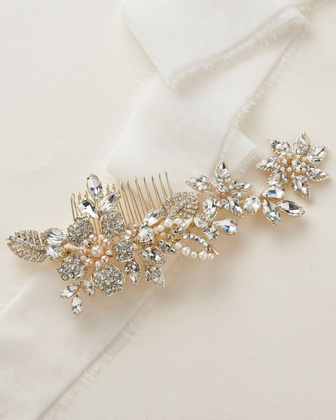 """The Lily"" Floral Wedding Comb - Sweet Heart Details"