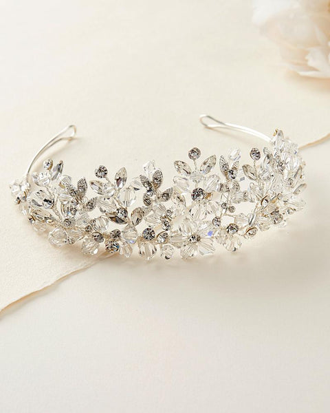 """The Brandi"" Floral Cascade Swarovski Crown - Sweet Heart Details"