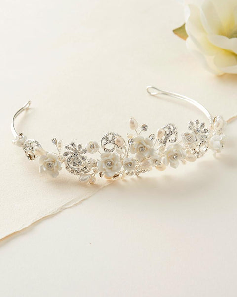 """The Courtney"" Rose & Pearl Flower Tiara - Sweet Heart Details"