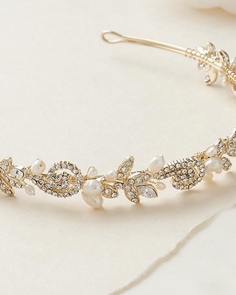 """The Adalia"" Fresh Water Pearl Headband-Tiaras & Headbands-Dareth Colburn-Sweet Heart Details"