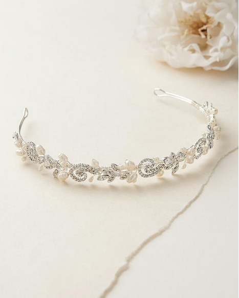 """The Adalia"" Fresh Water Pearl Headband-Tiaras & Headbands-Dareth Colburn-TI-3256-S-Sweet Heart Details"
