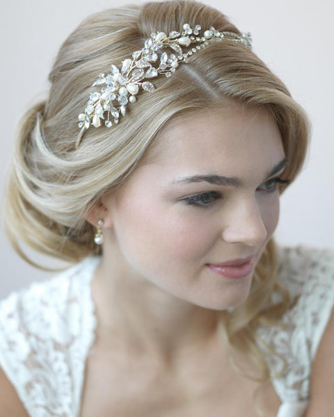 """The Ivy"" Pearl & Crystal Bridal Headband-Tiaras & Headbands-Dareth Colburn-Sweet Heart Details"