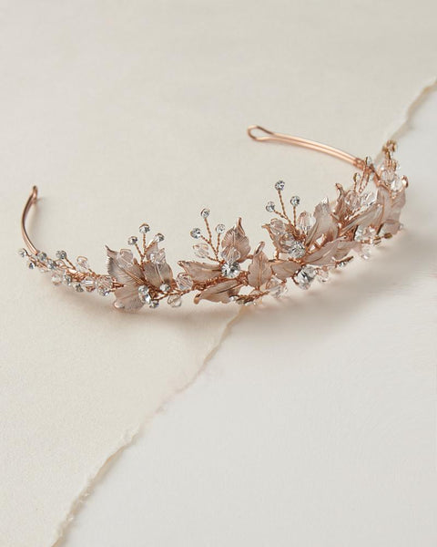 """The Juliet"" Floral Tiara with Leaves and Crystals - Sweet Heart Details"