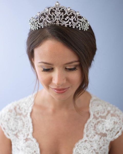 """The Florentina"" Royal Crown-Tiaras & Headbands-Dareth Colburn-TI-3284-Sweet Heart Details"