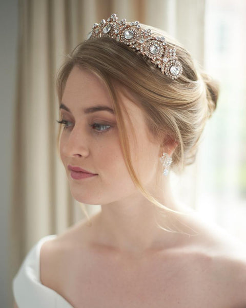 """The Joelle"" Vintage Crown-Tiaras & Headbands-Dareth Colburn-Sweet Heart Details"