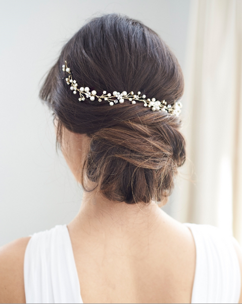 """The Kaitlyn"" Pretty Floral Hair Vine-Tiaras & Headbands-Dareth Colburn-Sweet Heart Details"