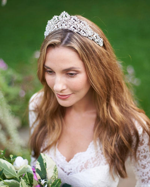 """The Jocelyn"" Silver Tiara-Tiaras & Headbands-Dareth Colburn-TI-3356-S-Sweet Heart Details"