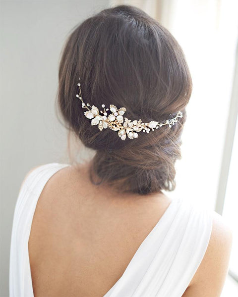 """The Leona"" Bridal Hair Vine - Sweet Heart Details"
