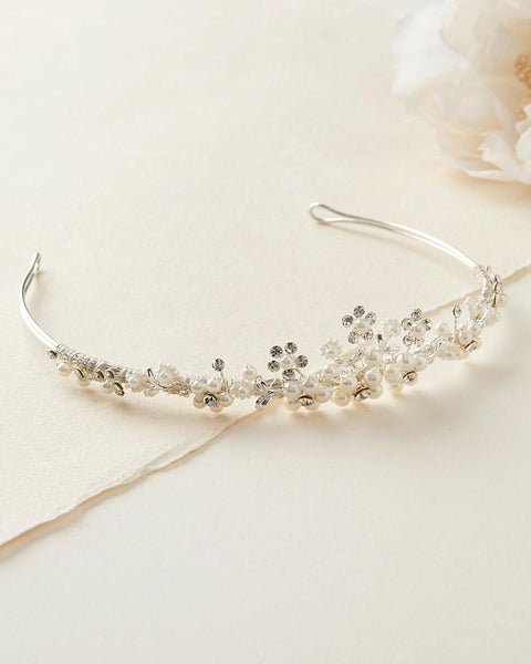 """The Sydney"" Delicate Crystal and Pearl Tiara-Tiaras & Headbands-Wedding Factory-Sweet Heart Details"