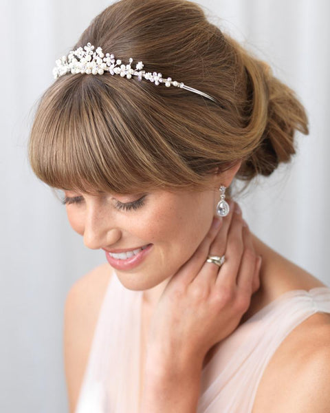 """The Sydney"" Delicate Crystal and Pearl Tiara - Sweet Heart Details"