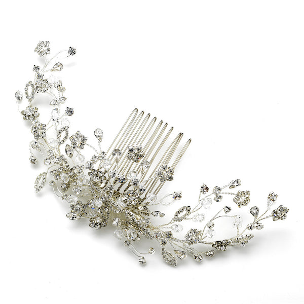 """The Tara"" Floral Vine Crystal Comb-Combs & Clips-Wedding Factory-Comb-8218-S-Sweet Heart Details"