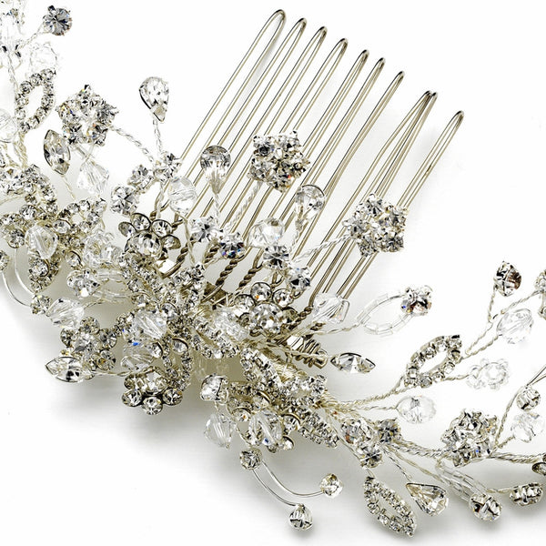 """The Tara"" Floral Vine Crystal Comb - Sweet Heart Details"