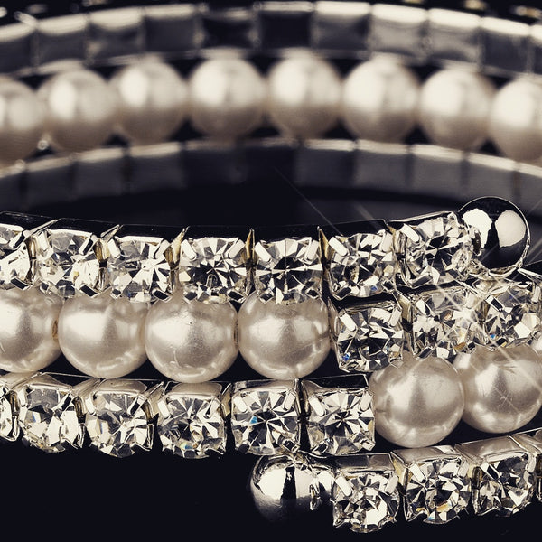 """The Tatianna"" Crystal & Pearl 3 Row Wrap Bracelet"
