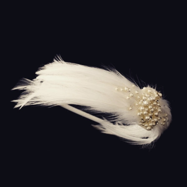 """The Teanna"" Feather & Pearl Headband"