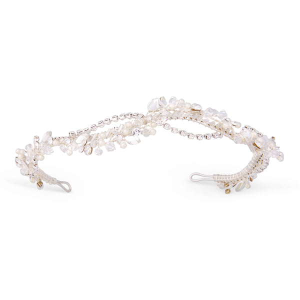 """The Tina"" Silver Woven Headband of Pearls Rhinestones Crystals"