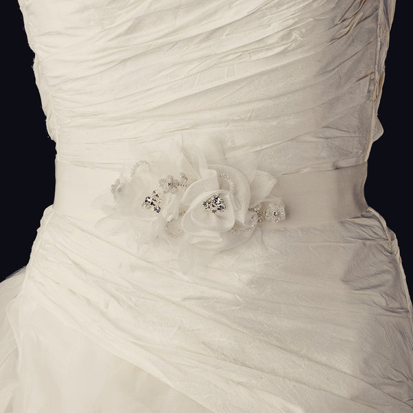 """The Ursula"" Floral Crystal & Pearl Bridal Belt - Sweet Heart Details"