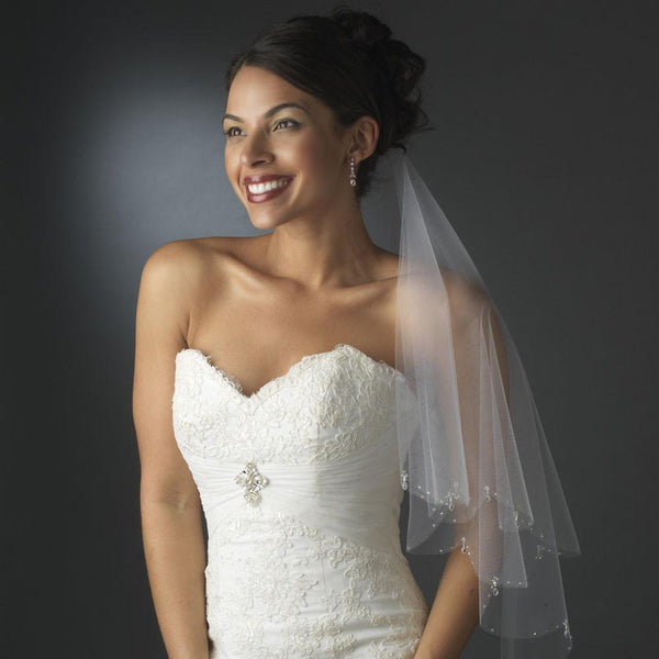 """The Jordana"" Double Layer Veil w Crystals & Beads-Veils-Wedding Factory-Sweet Heart Details"