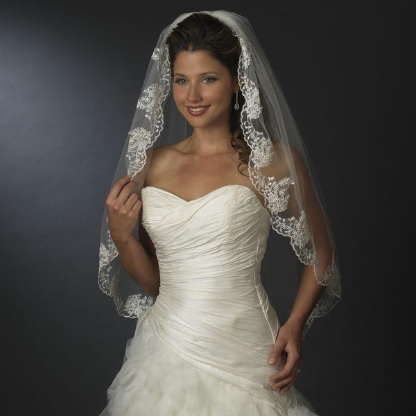 """The Julissa"" Single Layer Fingertip Lace Veil - Sweet Heart Details"