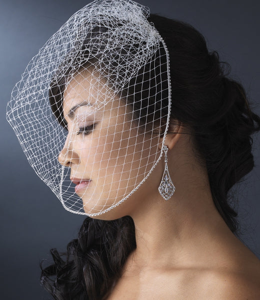 """The Thandie"" Single Layer Birdcage Face Veil - Sweet Heart Details"