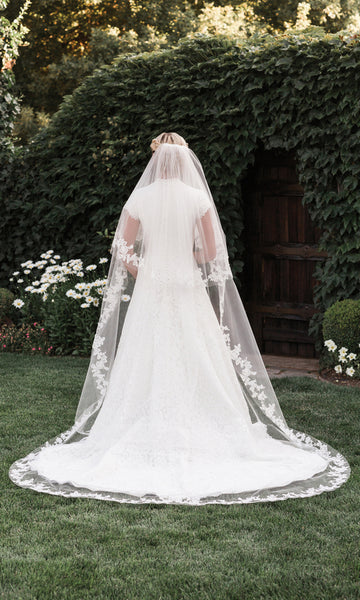 Two Layer Lace Cathedral Wedding Veil - Sweet Heart Details