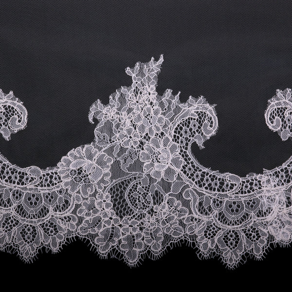 English Tulle Lace Mantilla Cathedral Bridal Veil-Veils-V1998C-M-Sweet Heart Details