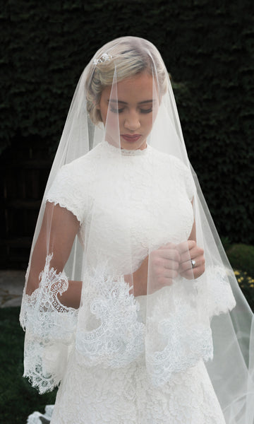 English Tulle Lace Mantilla Cathedral Bridal Veil - Sweet Heart Details