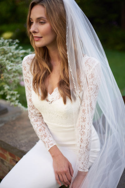 """The Emma"" Pearl & Crystal Beaded Cathedral Veil - Sweet Heart Details"